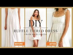 DIY Ruffle tiered dress from old maxi dress - Refashion idea for summer dress - YouTube