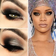 Rihanna inspired eye makeup.
