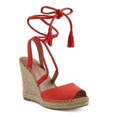 Women's Maren Lace Up Wedge Espadrille Sandals - Merona Red 5.5