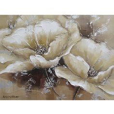 "Full Bloom 1.  Original canvas painting, heavily textured...silver undertones with cream & brown.  $102, 23.5""H x 31""W.    Has companion piece!"