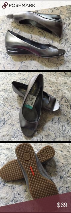 Cole Hann Nike Air Pewter Wedge Open toe, Nike air technology, Cole Hann wedge. NWT, size 7. Cole Haan Shoes Wedges