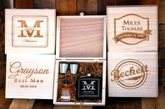 Groomsmen Gift Set of 1 Cigar Box Flask Gift Set Personalized Cigar Box Groomsmen Keepsake Box Personalized Wedding Thank you Gifts for Men by UrbanFarmhouseTampa on Etsy https://www.etsy.com/listing/269184388/groomsmen-gift-set-of-1-cigar-box-flask