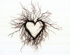 """Art Photography - Tree branches love heart photograph natural brown rustic wedding marriage white cottage chic Photograph 8x10 """"Wild Heart"""". $30.00, via Etsy."""