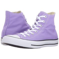 Converse Chuck Taylor All Star Seasonal Color Hi (Frozen Lilac) Lace... ($60) ❤ liked on Polyvore featuring shoes, sneakers, high top sneakers, metallic sneakers, lace up high top sneakers, converse sneakers and lilac shoes