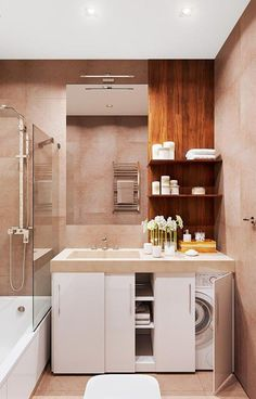 46 DIY Ideas for your Laundry Room Organizer Lavanderia oculta Bathroom Design Small, Bathroom Layout, Bathroom Interior Design, Modern Interior Design, Bathroom Ideas, Bathroom Plants, Small Space Bathroom, Bathroom Photos, Bathroom Trends