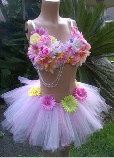 8697889834a LED Daisy Butterfly Rhinestone Rave Bra   LED Daisy Tutu Rave Outfit -  EyeCandyFashionistas