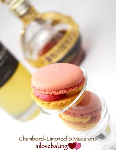 Ai love using liquors for baking. On my top shelf--no pun intended--I have Rum, Vodka, Tequilla, Chambord, Limoncello . . . really I only use this for baking, wink wink. So why the boozy macarons?...