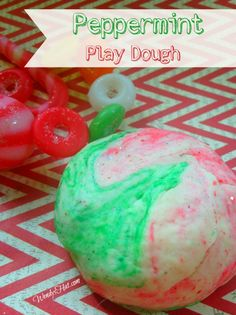 Peppermint Play Dough recipe that is simple to make yourself.  It's a HIT with all the children.  Would be great as a gift or party favor too.