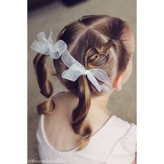 Little girl hairstyle.  Valentine hair.  CGH Heart as an accent into ponytails.