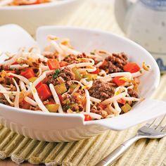 Dans une poêle, chauffer l'huile à feu moyen. Cuire le boeuf haché 5 minutes. Ajouter le mélange de légumes, le gingembre et, si désiré, l'ail. Cuire de 2 à 3 minutes...