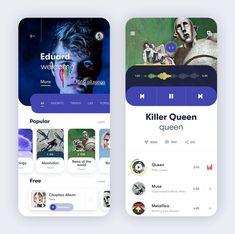 music app design by clay - Design Ui Design Mobile, Design Ios, Game Ui Design, Graphic Design, Hotel Booking App, Profile App, Website Design Layout, Mobile App Ui, Music App