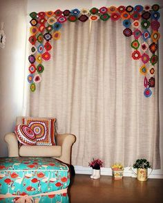 Best 10 Crochet Curtain: 40 models to decorate your home, Ikea Curtains, Custom Curtains, Curtain Patterns, Curtain Designs, Decorating Your Home, Diy Home Decor, Room Decor, Crochet Curtains, Crochet Curtain Pattern