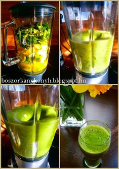 Hozzávalók (2 adaghoz): - 1 kígyóuborka - 1 banán - 1 alma - 1 marék spenót levél - 1 kis citrom leve - 1 dl frissen facsart naranc... Healthy Smoothies, Healthy Drinks, Smoothie Recipes, Juice Recipes, Fun Drinks, Celery, Recipies, Paleo, Food And Drink