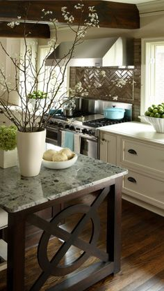Kitchen island: Think of it as a piece of furniture - if you ever move you can take it with you. And it doesn't have to perfectly match your cabinets.