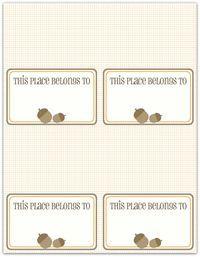 Thanksgiving placecard acorns  2- 3 styles--  write click scrapbook