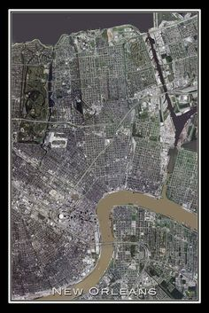 New Orleans Louisiana From Space Satellite Art Poster