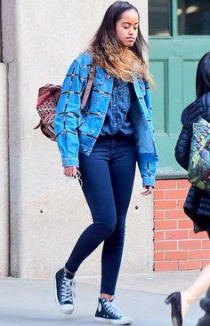 Malia Obama was photographed at her NYC internship wearing this chic denim-on-denim look.