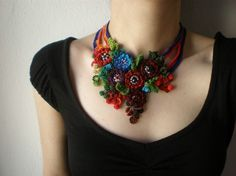 Ranunculus Hebecarpus ... Freeform Beaded Crochet Necklace - Flowers. $138.00, via Etsy.