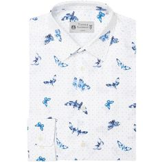 Turner & Sanderson Leyden Tailored Fit Moth Printed Shirt (£75) ❤ liked on Polyvore featuring men's fashion, men's clothing, men's shirts, men's dress shirts, men shirts formal shirts, mens tailored shirts, mens french cuff dress shirts, mens double cuff shirts, mens print shirts and mens tailored dress shirts