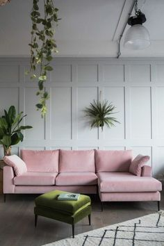 Pink Velvet Sofa and Panelled Wall room design pink Blush Pink Sofas: Add A Touch Of Color To Your Living Room Velvet Corner Sofa, Pink Velvet Sofa, Pink Sofa, Blush Sofa, Pink Corner Sofas, Gray Sofa, Living Room Interior, Home Interior Design, Living Room Decor