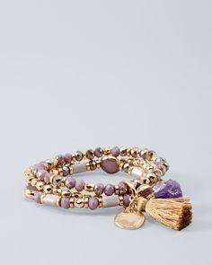 Women's Amethyst Bead & Charm Stretch Bracelet by White House Black Market
