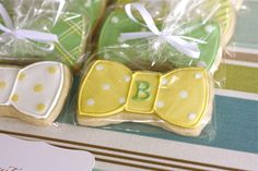 """Bow-Tie Cookies: """"These little pretties were quite the hit,"""" Emily says. """"I ordered these from Bees Knees Creative. Just so happens, Renee lives very close to me, and they got here in perfect shape! Boy First Birthday, Boy Birthday Parties, Birthday Ideas, Happy Birthday, Southern Baby Showers, Preppy Baby Boy, Bow Tie Cookies, Little Man Party, Thing 1"""