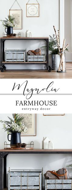 Gorgeous entryway inspo from and ! I love the simple and timeless look of these images, can easily translate into many, many designs - not just :):) does it AGAIN! Farmhouse Entryway Table, Farmhouse Living Room Furniture, Modern Farmhouse Decor, Farmhouse Design, Entryway Decor, Living Room Decor, Entryway Ideas, Rustic Farmhouse, Farmhouse Style