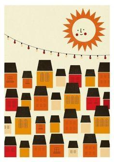 Sunny small city print