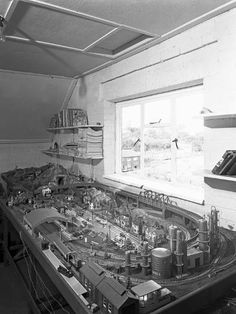 size: Photographic Print: Model Railway Layout, Wickersley, South Yorkshire, 1960 by Michael Walters : Artists Hobby Trains, Ho Scale Trains, South Yorkshire, Model Train Layouts, Train Set, Classic Toys, Model Trains, Scale Models, Layout Design
