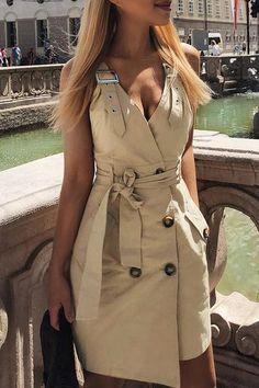 5b69803dd4a8 V-Neck Sleeveless Backless Fashion Mini Dress