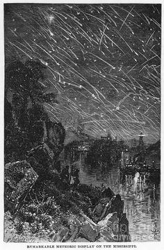 Leonid Meteor Shower, 1833 Photograph - Leonid Meteor Shower, 1833 Fine Art Print by Granger Cosmos, Nocturne, Leonid Meteor Shower, Illustrations, Illustration Art, Art Through The Ages, Graphic Design Studios, Night Skies, Les Oeuvres