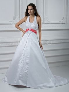 Court Train White Wedding Dress in Halter A-line - Milanoo.com