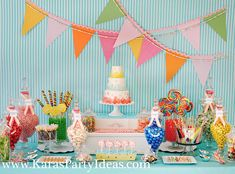 Beautiful Candy Display (especially the candy necklace bunting)