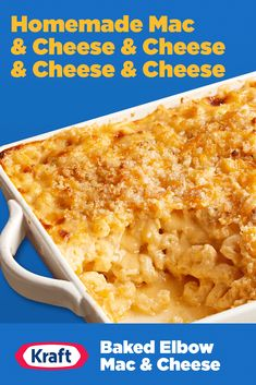 Side dish or main, this homestyle Baked Elbow Mac & Cheese has all the cheddar, mozzarella, parmesan and blue cheese to fill your cheesy needs this Memorial Day. Macaroni Cheese Recipes, Mac Cheese, Blue Cheese, Baked Macaroni, Casserole Recipes, Crockpot Recipes, Cooking Recipes, Fast Recipes, Copycat Recipes