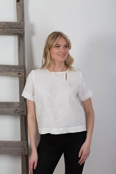Pure White Linen Blouse, Handmade Linen Tunic, Maternity, Womens Linen Clothing Washed Linen Natural Flax Tunic  Simple design allows easy combination