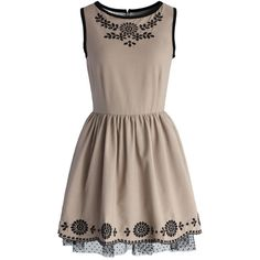 Chicwish Khaki Lace Trimmed Embroidered Dress and other apparel, accessories and trends. Browse and shop related looks.