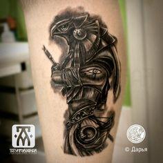 Tattoo Ра - tattoo's photo In the style Black and grey, Egypti God Tattoos, Skull Tattoos, Forearm Tattoos, Sleeve Tattoos, Tattoos For Guys, Tribal Tattoos, Egypt Tattoo Design, Tattoo Design Drawings, Tattoo Designs Men