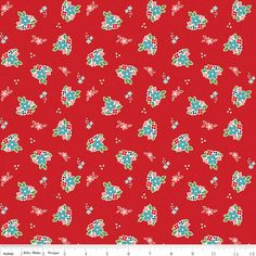 Sweet country flowers cover a red ground, Country Girls Floral in Red from the Country Girls fabric collection by Tasha Noel from Riley Blake Designs., Lemontreefabrics.com