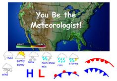 Student Activity: This interactive activity requires students to read weather maps. Teaching Weather, Weather Science, Weather Unit, Weather And Climate, Science Worksheets, Science Lessons, Science Activities, Weather Activities, Science Ideas