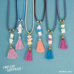 Sautoir Pompon et Coquillages / COULEUR SURPRISE – PAMALAKA - Créateur de bijoux boho chic