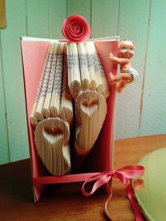 Book Folding Pattern Baby Feet With Hearts by PatternByLinda