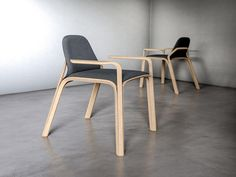 """everything-creative: """" Adamantem Chair Concept by Magnus Skogsfjord Magnus Skogsfjord, who is a designer at Miror Design in Oslo, Norway, had the idea of creating a piece of furniture, that utilizes a basic shape for all the framing parts. Painted Wooden Chairs, Chair Design Wooden, Wood Design, Furniture Design, Modern Design, Living Room Chairs, Dining Chairs, Desk Chairs, Office Chairs"""