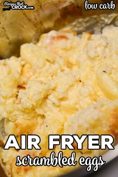 Did you know that you can make incredibly fluffy scrambled eggs in an air fryer or Ninja Foodi?Our Air Fryer Scrambled Eggs are an easy way to make our popular Crock Pot Scrambled Eggs quicker. Grill Breakfast, Air Fryer Recipes Breakfast, Air Fryer Oven Recipes, Mexican Breakfast Recipes, Air Fryer Dinner Recipes, Breakfast Sandwiches, Breakfast Bowls, Fluffy Scrambled Eggs, Over Easy Eggs