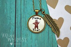 Mama Bear Necklace With Feather Charm in Antique Bronze From Miss Whimsy Designs