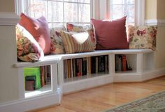 Dining room window seat with bookshelves by The Custom Carpenter. Add a cushion, and it's PERFECT! Source by bookmammal Dining room window seat with bookshelves by The Custom Carpenter. Room, Home, Dining Room Windows, Window Benches, Room Remodeling, House Interior, Bay Window Benches, Bay Window Seat, Home And Living