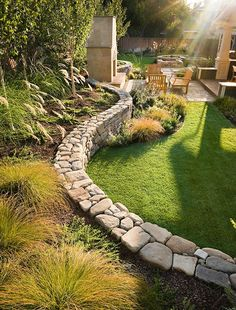 Retaining wall in the garden: 84 ideas for slope protection and garden wall - Friesenwall build open joints planting horticulture - Amazing Gardens, Beautiful Gardens, Landscape Edging Stone, Landscape Art, Landscape Paintings, House Landscape, Landscape Architecture, Landscapes, Architecture Design