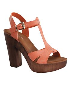 Another great find on #zulily! Coral Jorge Platform Sandal by TOP MODA #zulilyfinds