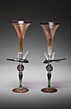 Glass, Jason Howard, Artist (2012 NICHE Award Finalist), Dragonfly Goblets
