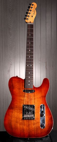 FENDER Select Carved Koa Top Telecaster Electric Guitar - Sienna Edge Burst | Small White Mouse