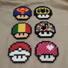 Mario mushrooms perler beads by plur.warrior